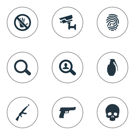 Vector Illustration Set Of Simple Offense Icons. Elements Pistol, Controlling System, Touch Forbidden And Other Synonyms Pistol, Prohibited And Bone.