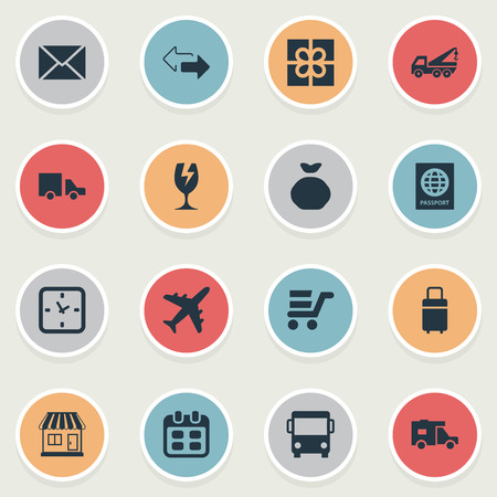 Vector Illustration Set Of Simple Conveyance Icons. Elements Day, Passport, Pushcart And Other Synonyms Pouch, Clock And Passport.
