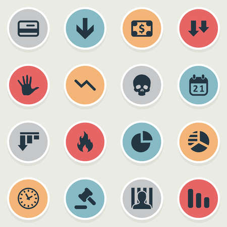 Vector Illustration Set Of Simple Situation Icons. Elements Round Graph, Bankroll, Bar Graph And Other Synonyms Hammer, Jailer And Graph.
