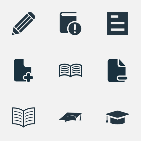 removing: Vector Illustration Set Of Simple Reading Icons. Elements Graduation Hat, Love Affair, Academic Cap And Other Synonyms Removing, Important And Information.