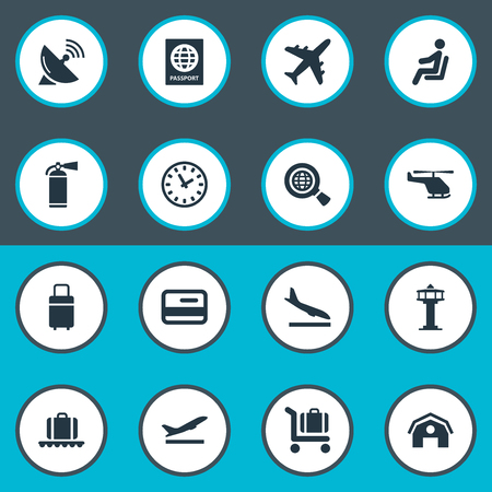 Vector Illustration Set Of Simple Transportation Icons. Elements Travel Bag, Certificate Of Citizenship, Plane And Other Synonyms Aircraft, Shed And Flight.