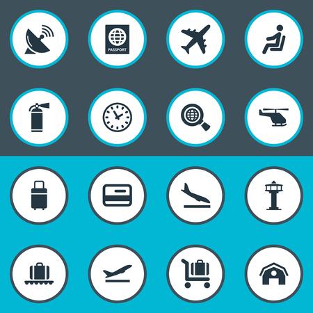 벡터 일러스트 레이 션 간단한 교통 아이콘의 집합입니다. 요소 여행 가방, 시민권, 비행기 및 기타 동의어 항공기, 창 고 및 비행 인증서. 일러스트