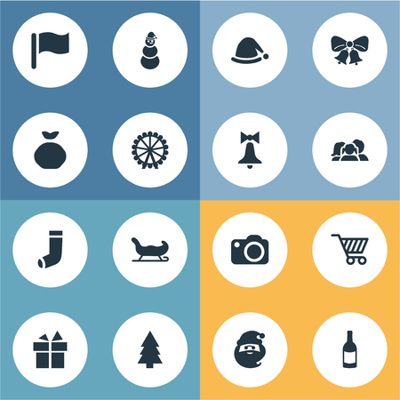 Vector Illustration Set Of Simple Christmas Icons. Elements Forest, Christmas Decoration, Pin And Other Synonyms Present, Equipment And Sack. Illustration