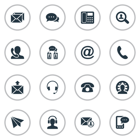 job posting: Vector Illustration Set Of Simple Communication Icons. Elements Telephone, Intercommunication, Postal And Other Synonyms House, Message And Symbol.