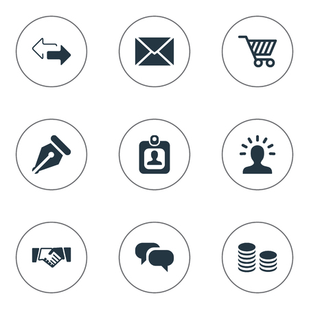 Vector Illustration Set Of Simple Business Icons. Elements Nib, Identity Card, Direction And Other Synonyms Account, Message And Cart.