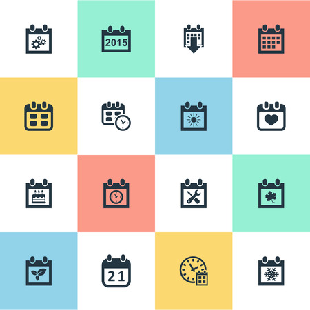 Vector Illustration Set Of Simple Date Icons. Elements Date Block, Snowflake, Renovation Tools And Other Synonyms History, Data And Clock. Illustration