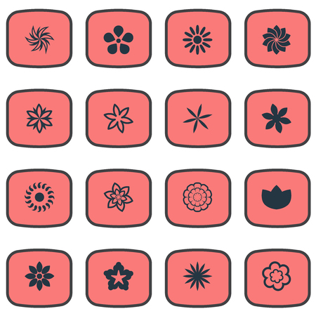 Vector Illustration Set Of Simple Blossom Icons. Elements Narcissus, Crocus, Lilac And Other Synonyms Lily, Lilac And Narcissus.