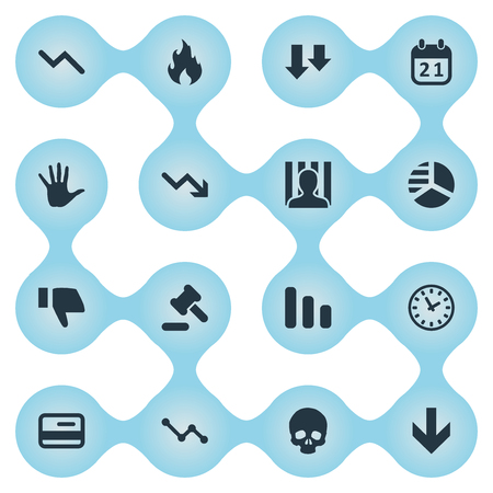 Vector Illustration Set Of Simple Crisis Icons. Elements Downward, Fire, Line Chart And Other Synonyms Skull, Plastic And Fire.