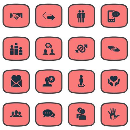 soltería: Ilustración vectorial conjunto de iconos simples Amigos. Elementos flechas, hablar, Unidad y otros sinónimos Mates, Valentine y de equipo.