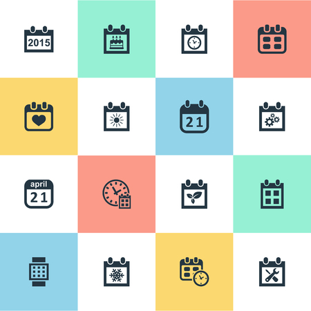 Vector Illustration Set Of Simple Date Icons Elements Heart