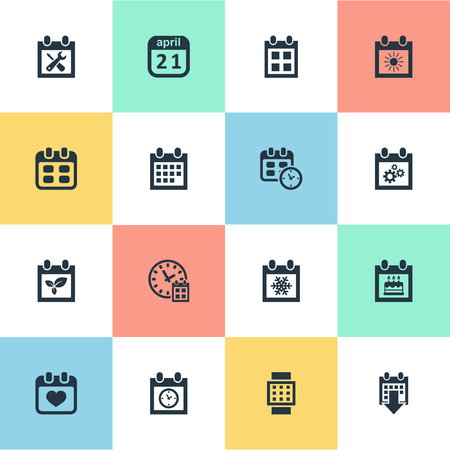 almanac: Vector Illustration Set Of Simple Calendar Icons. Elements Almanac, History, Heart And Other Synonyms Event, History And Planner.