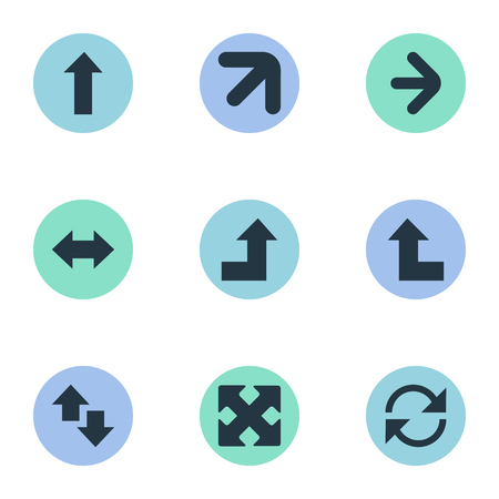 Vector Illustration Set d'icônes simples curseurs. Éléments vers le haut-vers le bas, croissant, direction droite et d'autres synonymes croissant, vertical et droit.