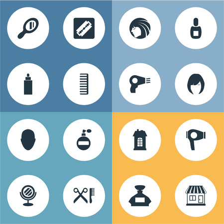 Vector Illustration Set Of Simple Beautician Icons. Elements Reflector, Aroma, Blow Dryer And Other Synonyms Bottle, Architecture And Supermarket.