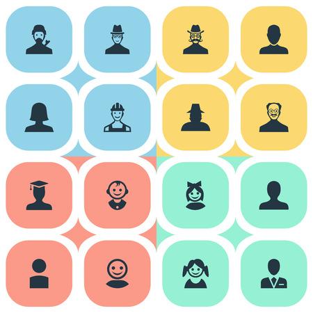 벡터 일러스트 레이 션 간단한 아바타 아이콘의 집합입니다. 요소 노동자, 대학원, 내부자 및 기타 동의어 아바타, 사용자 및 형사.