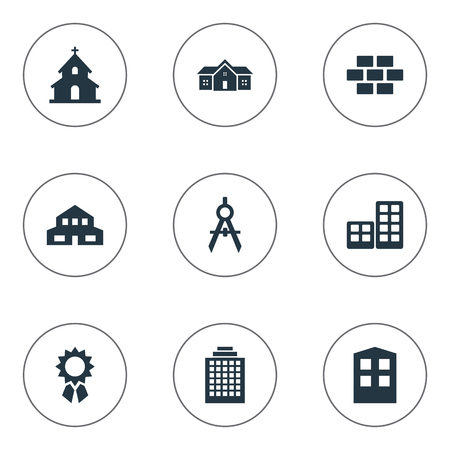 Vector Illustration Set Of Simple Architecture Icons. Elements Engineer Tool, Offices, Reward And Other Synonyms Achievement, Scale And Reward.