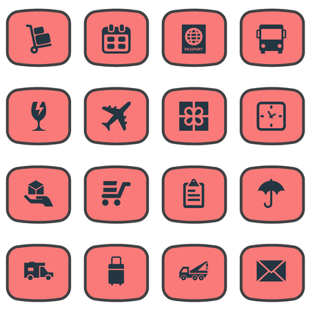 Vector Illustration Set Of Simple Distribution Icons. Elements Airline, Passport, Gingham And Other Synonyms Autobus, Transportation And Travel.