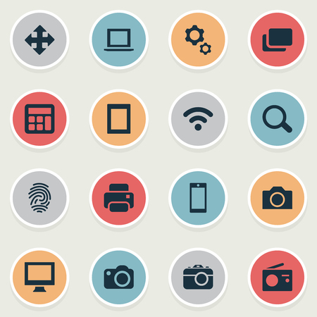 Vector Illustration Set Of Simple Technology Icons. Elements Laptop, Camera, Adding Device And Other Synonyms Settings, Identification And SEO.