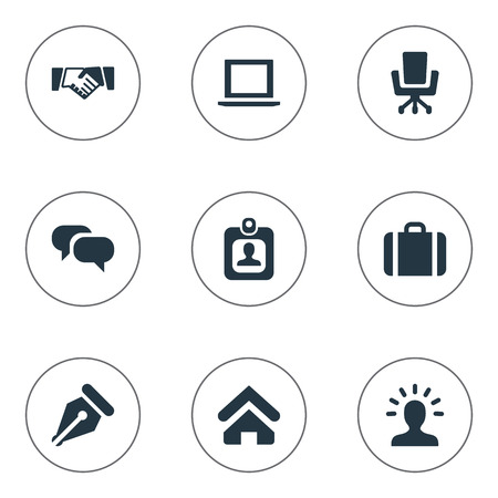 Vector Illustration Set Of Simple Trade Icons. Elements Nib, Computer, House Location And Other Synonyms Handshake, Portfolio And Office.