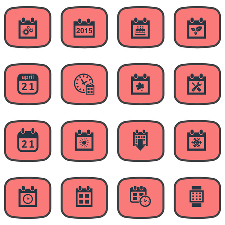 almanac: Vector Illustration Set Of Simple Calendar Icons. Elements Planner, Agenda, Remembrance And Other Synonyms Almanac, Agenda And Watch.