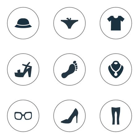 Vector illustratie Set van eenvoudige jurk pictogrammen. Casual elementen, hoed, schoenen en andere synoniemenleggings, casual en voet.