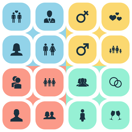Vector Illustration Set Of Simple  Icons. Elements Spouse, Male, Double And Other Synonyms Female, Husband And Pair. Illustration