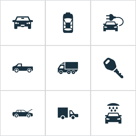 Vector Illustration Set Of Simple Transport Icons. Elements Lorry Stop, Auto, Haulage And Other Synonyms Fixing, Tuning And Key. Illustration
