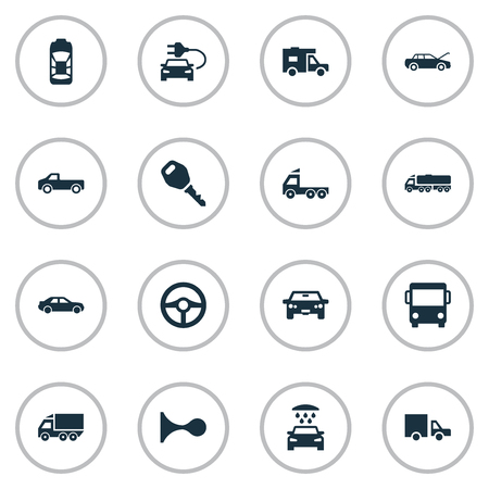 Vector Illustration Set Of Simple Automobile Icons. Elements Tour Bus, Haulage, Van And Other Synonyms Truck, Service And Shower. Illustration