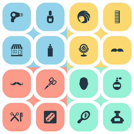 Vector Illustration Set Of Simple Beautician Icons. Elements Cut Tool, Glamour Lady, Barber Tools And Other Synonyms Hackle, Supermarket And Reflector.