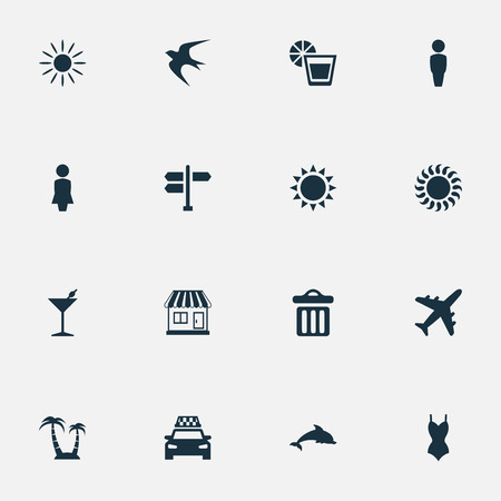 Vector Illustration Set Of Simple Beach Icons. Elements Taxi, Airplane, Hot And Other Synonyms Cocktail, Airplane And Sea. Illustration