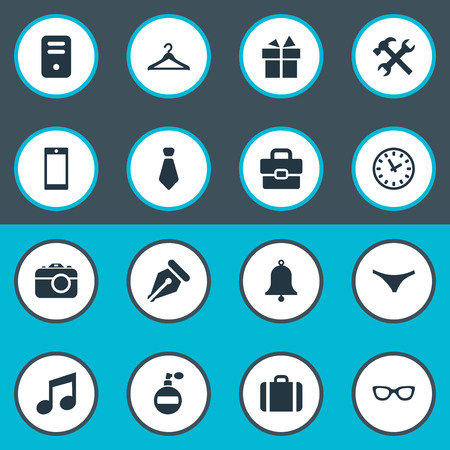 Vector Illustration Set Of Simple Instrument Icons. Elements Ring, Fragrance, Business Bag And Other Synonyms Clock, Watch And Underpants.