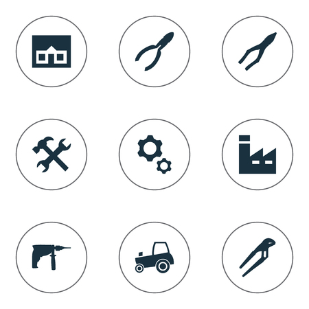 Vector Illustration Set Of Simple Build Icons. Elements Electric Screwdriver, Home, Adjustable Wrench And Other Synonyms Drill, Engineering And Cutters.
