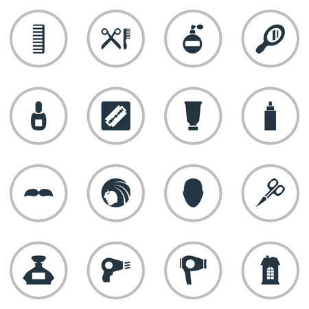 Vector Illustration Set Of Simple Barber Icons. Elements Reflector, Scent, Barber Tools And Other Synonyms Building, Razor And Barbershop.