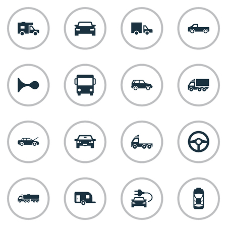 Set Of Simple Automobile Icons. Elements Lorry Stop, Automobile, Shipment And Other Synonyms Trailer, Siren And Sedan.