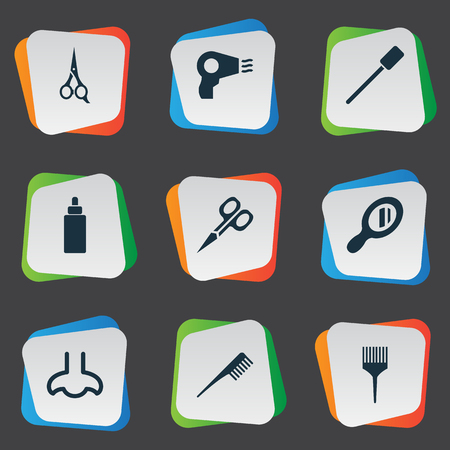 Vector Illustration Set Of Simple Cosmetics Icons. Elements Blow Dryer, Barber Tool, Serum And Other Synonyms Coloring, Comb And Scissors.