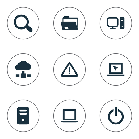 simple store: Vector Illustration Set Of Simple Notebook Icons. Elements Cursor, Dossier, Warning And Other Synonyms Begin, Unit And Store. Illustration
