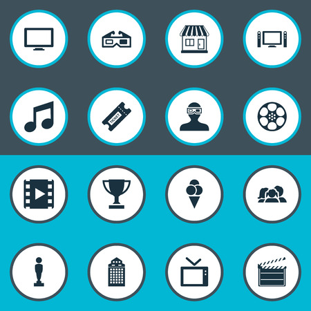 Vector Illustration Set Of Simple Film Icons. Elements Screen, Sorbet, Home Cinema And Other Synonyms Audience, Oscar And Montage.