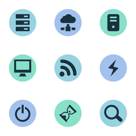 Vector Illustration Set Of Simple Laptop Icons. Elements Magnifier, Data Center, Wave And Other Synonyms Wireless, Screen And Charge. Illustration