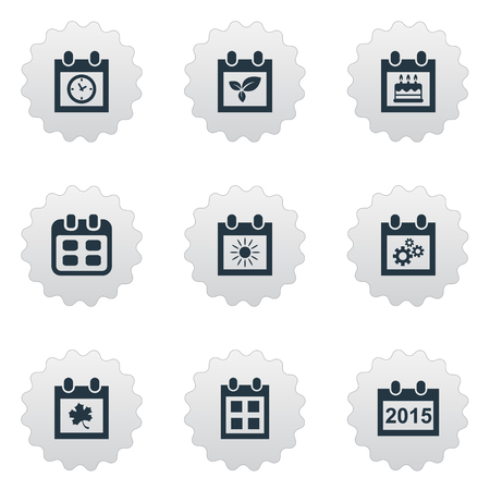 almanac: Vector Illustration Set Of Simple Calendar Icons. Elements Special Day, Almanac, Plant And Other Synonyms Special, Calendar And Sun.
