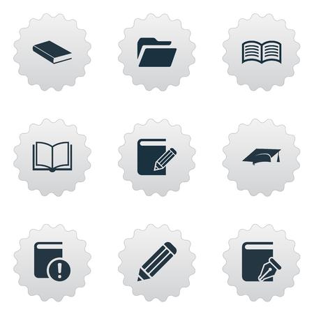 벡터 일러스트 레이 션 간단한 책 아이콘의 집합입니다. 요소 중요 한 독서, 폴더, 사랑 외도와 다른 동의어 스케치 북, 교육 및 빈.