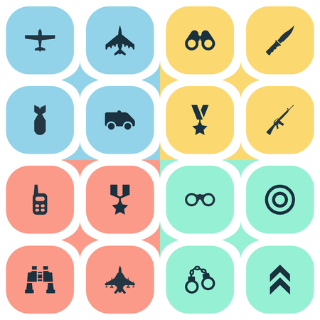 Vector Illustration Set Of Simple Military Icons. Elements Emergency, Nuke, Military Order And Other Synonyms Military, Aim And Medal. Stock Vector - 74989232