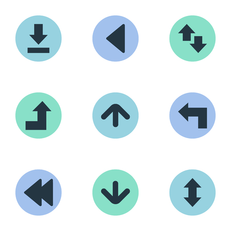 Vector Illustration Set Of Simple Cursor Icons. Elements Left Landmark , Upwards-Downwards, Down Up Synonyms Arrow, Raising And Vertical. Illustration