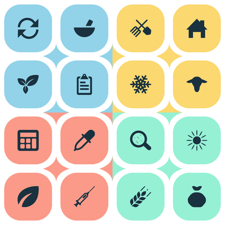 Vector Illustration Set Of Simple Harvest Icons. Elements Medicament, Leaves, Ranch Home And Other Synonyms Wheat, Horticulture And Magnifier.