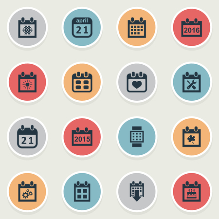 almanac: Vector Illustration Set Of Simple Calendar Icons. Elements Event, Annual, Almanac And Other Synonyms Reminder, Snowflake And Block.