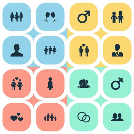 Ilustración vectorial Conjunto de iconos de pareja simple. Elementos Mujer, marido, Wineglass Sinónimos Mates, mujer y hombre. Foto de archivo - 74988465
