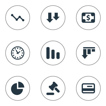 Vector Illustration Set Of Simple Impasse Icons. Elements Bankroll, Clock, Circular Diagram And Other Synonyms Clock, Graph And Credit.