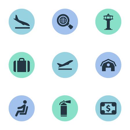 벡터 일러스트 레이 션 간단한 여행 아이콘의 집합입니다. 비행기, 좌석, 이륙 및 기타 동의어 이륙, 제어 및 지구를 암흑의 요소.