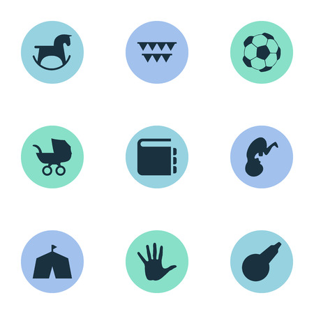 Vector Illustration Set Of Simple Baby Icons. Elements Soccer, Stroller, Clyster And Other Synonyms Show, Festival And Textbook. Illustration