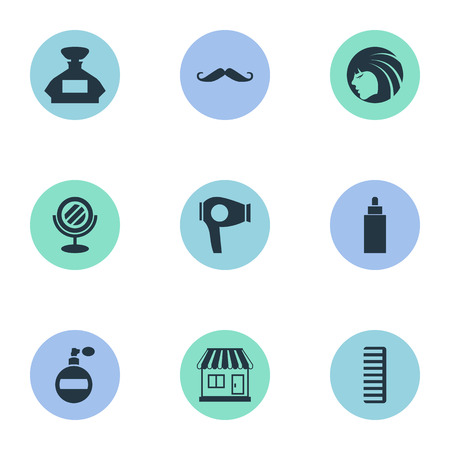 Vector Illustration Set Of Simple Beautician Icons. Elements Drying Machine, Glamour Lady, Scent And Other Synonyms Container, Hairdryer And Looking-Glass. Ilustrace