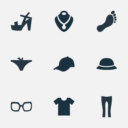 シンプルなドレスのアイコンのベクトル イラスト セット。要素ジュエリー、帽子、スポーツ帽子、他の同義語の靴ネックレス、t シャツ。  イラスト・ベクター素材