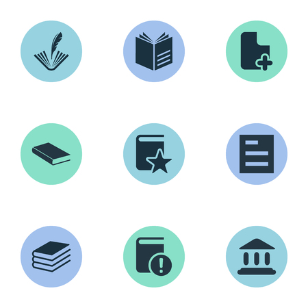 Vector Illustration Set Of Simple Education Icons. Elements Important Reading, Tasklist, Special And Other Synonyms Book, Feathered And Building.